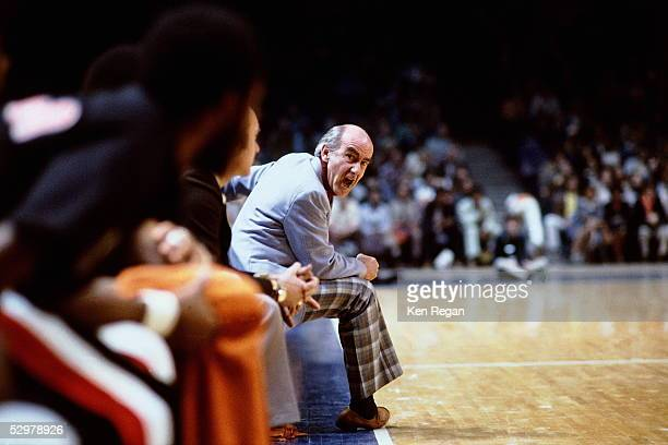 Head Coach Jack Ramsay of the Portland Trail Blazers yells to his bench for someone to get up during an NBA game circa 1978 NOTE TO USER User...