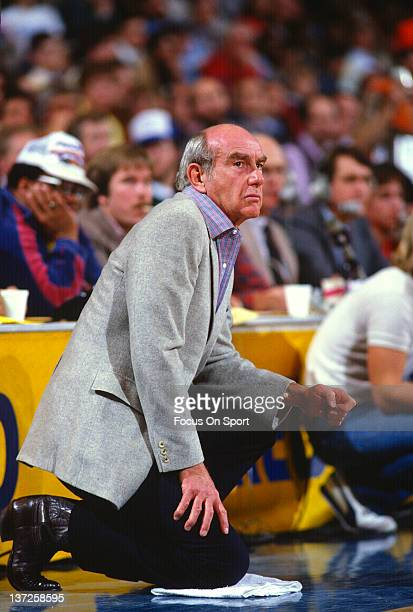 Head coach Jack Ramsey of the Portland Trail Blazers looks on against the Golden State Warriors during an NBA basketball game circa 1980 at the...