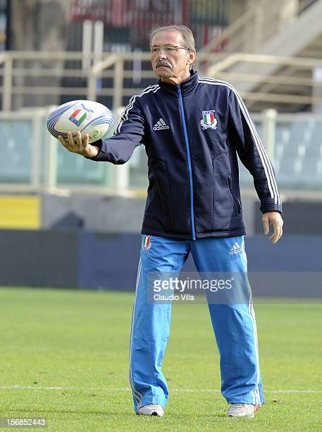 Head coach Jacques Brunel during Italy Captain's Run at Artemio Franchi on November 23 2012 in Florence Italy