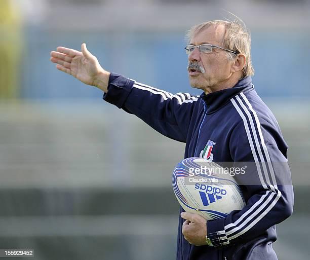 Head coach Jacques Brunel during Italy Captain's Run at Mario Rigamonti Stadium on November 9 2012 in Brescia Italy