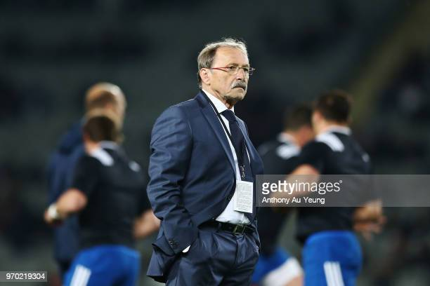 Head Coach Jacques Brunel of France looks on prior to the International Test match between the New Zealand All Blacks and France at Eden Park on June...
