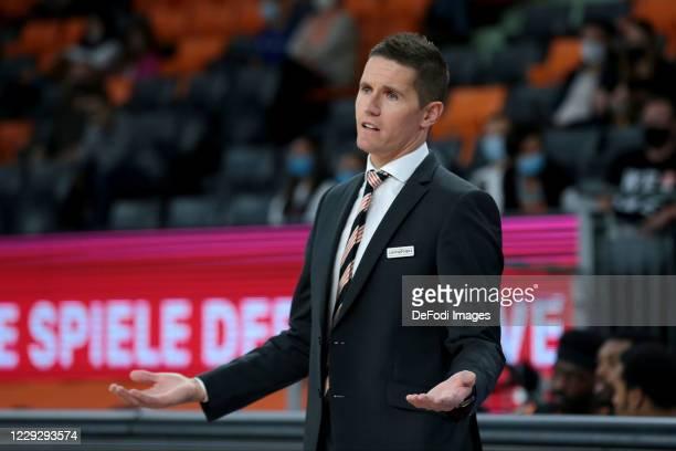 Head Coach Jaka Lakovic of ratiopharm ulm gestures during the EasyCredit BBL Pokal between Ratiopharm Ulm and S.Oliver Wuerzburg on October 25, 2020...