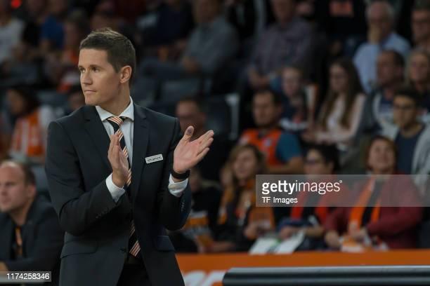 Head coach Jaka Lakovic of Ratiopharm Ulm gestures during the match between Ratiopharm Ulm and Rasta Vechta on September 28, 2019 in Ulm, Germany.
