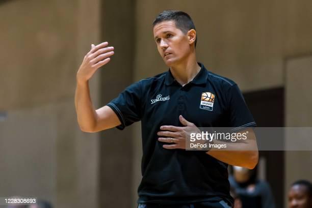 Head coach Jaka Lakovic of ratiopharm ulm gestures during the pre-season friendly match between Ratiopharm Ulm and KK Olimpija at OrangeCampus on...