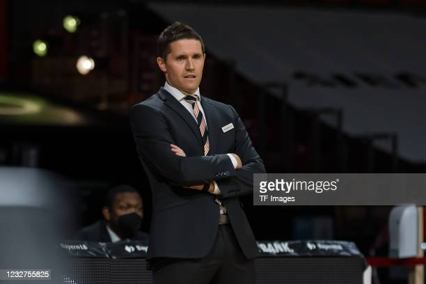 Head Coach Jaka Lakovic of ratiopharm ulm Looks on during the EasyCredit Basketball Bundesliga match between FC Bayern Muenchen and ratiopharm ulm on...