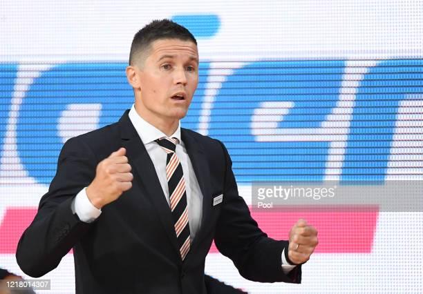 Head coach Jaka Lakovic of Ratiopharm Ulm reacts during the EasyCredit Basketball Bundesliga match between FC Bayern Muenchen and Ratiopharm Ulm at...