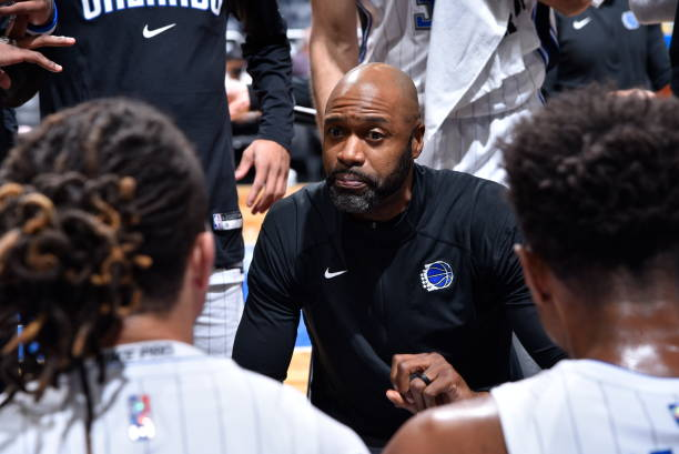Head Coach Jamahl Mosley of the Orland Magic talks to the Orlando Magic during a preseason game against the Boston Celtics on October 13, 2021 at...