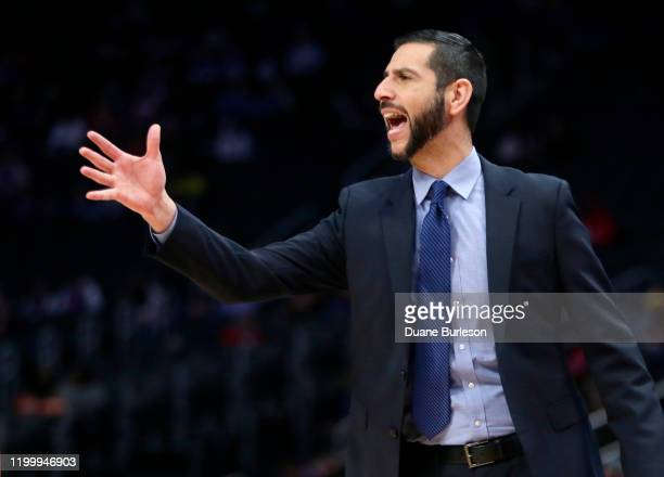 Head coach James Borrego of the Charlotte Hornets shouts to his team during the first half of a game against the Detroit Pistons at Little Caesars...