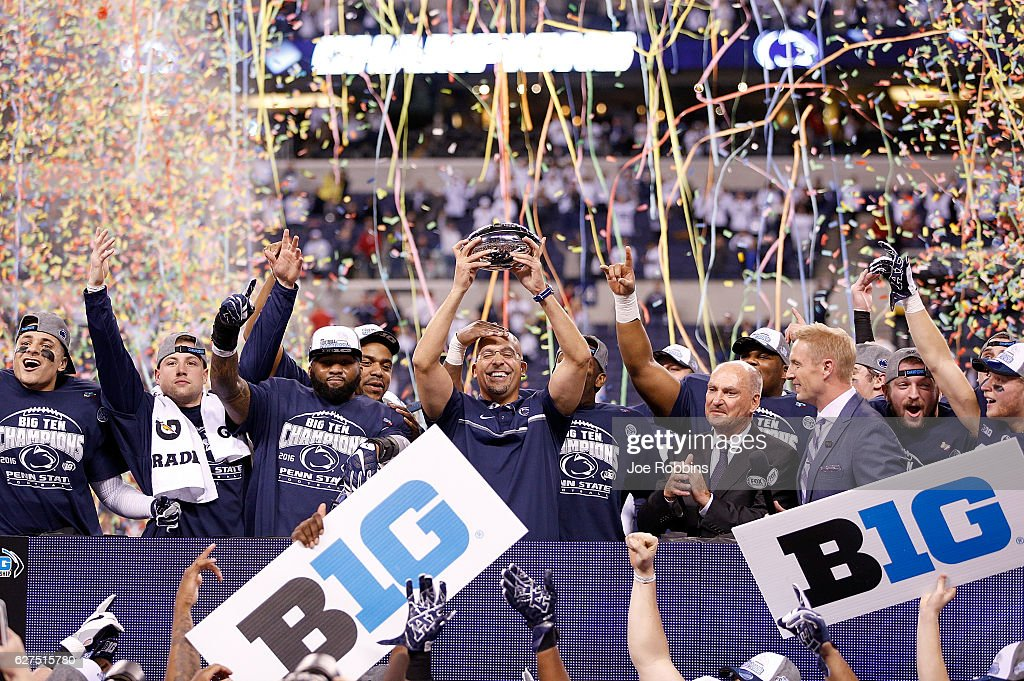 Head Coach James Franklin and the Penn State Nittany Lions celebrate after beating the Wisconsin Badgers 38-31 in the Big Ten Championship at Lucas Oil Stadium on December 3, 2016 in Indianapolis, Indiana.