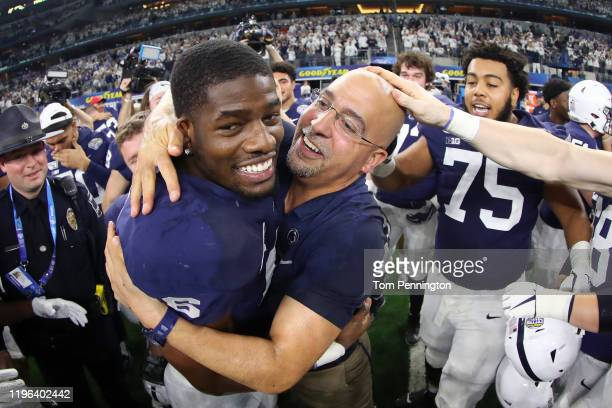Head coach James Franklin of the Penn State Nittany Lions celebrates with Cam Brown of the Penn State Nittany Lions after the Nittany Lions beat the...