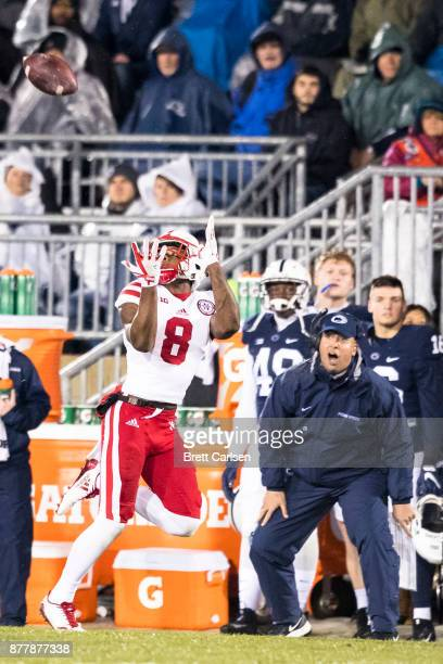 Head coach James Franklin of the Penn State Nittany Lions reacts as Stanley Morgan Jr #8 of the Nebraska Cornhuskers makes a first down reception...