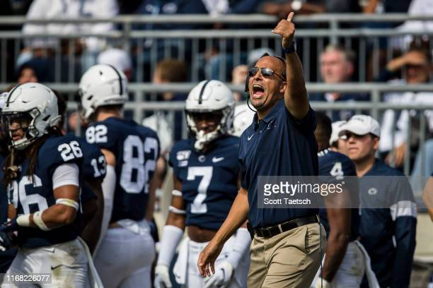 Head coach James Franklin of the Penn State Nittany Lions reacts against the Pittsburgh Panthers during the second half at Beaver Stadium on...