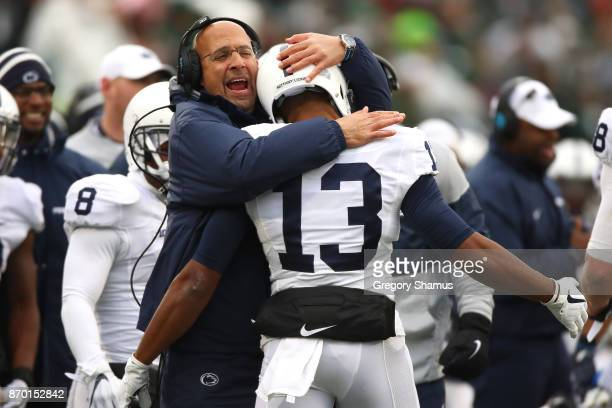 Head coach James Franklin of the Penn State Nittany Lions reacts to a first half touchdown by Saeed Blacknall while playing the Michigan State...
