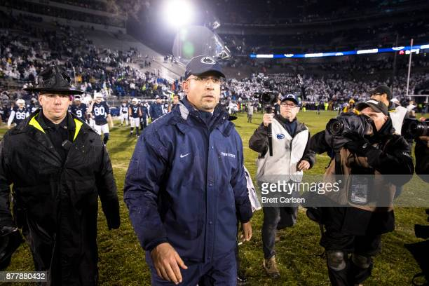 Head coach James Franklin of the Penn State Nittany Lions walks to center field after the game against the Nebraska Cornhuskers on November 18 2017...