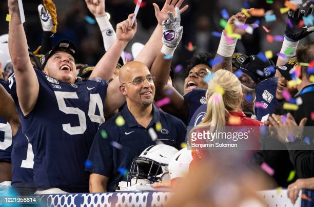 Head coach James Franklin of the Penn State Nittany Lions while celebrating after winning the Goodyear Cotton Bowl Classic at ATT Stadium on December...