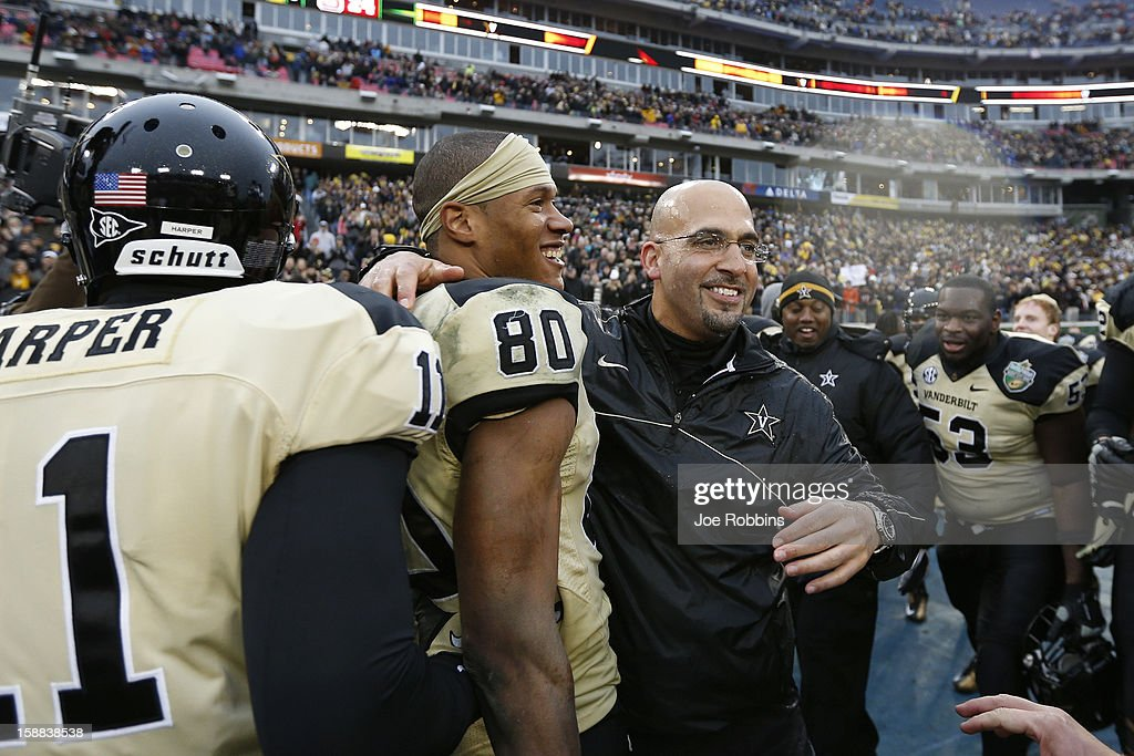 Head coach James Franklin of the Vanderbilt Commodores reacts celebrates at the end of the game against the North Carolina State Wolfpack during the Franklin American Mortgage Music City Bowl at LP Field on December 31, 2012 in Nashville, Tennessee. Vanderbilt won 38-24.