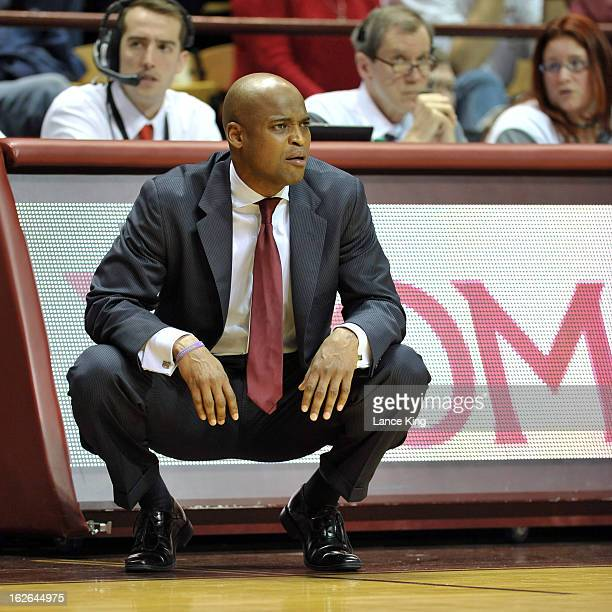 Head Coach James Johnson of the Virginia Tech Hokies looks on during a game against the Duke Blue Devils at Cassell Coliseum on February 21 2013 in...