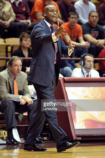 Head Coach James Johnson of the Virginia Tech Hokies reacts to a play during a game against the Duke Blue Devils at Cassell Coliseum on February 21...