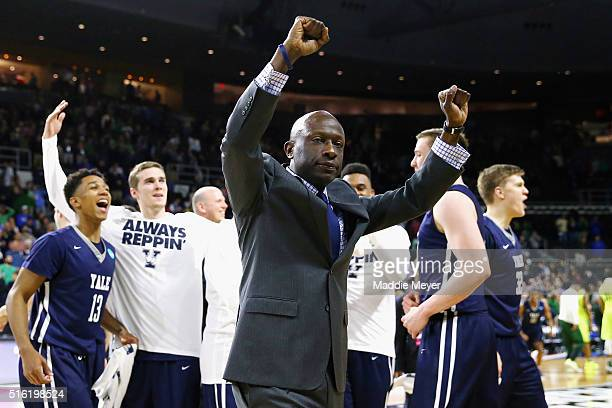 Head coach James Jones of the Yale Bulldogs celebrates defeating the Baylor Bears 79-75 during the first round of the 2016 NCAA Men's Basketball...