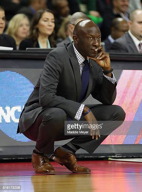 Head coach James Jones of the Yale Bulldogs looks on in the first half against the Baylor Bears during the first round of the 2016 NCAA Men's...