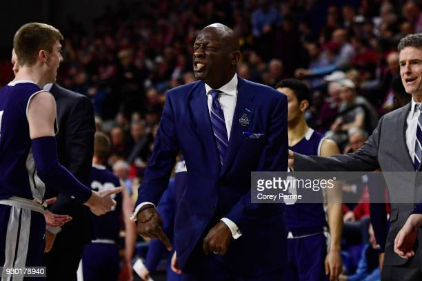Head coach James Jones of the Yale Bulldogs reacts to a call against the Pennsylvania Quakers during the first half of a semifinal round matchup in...