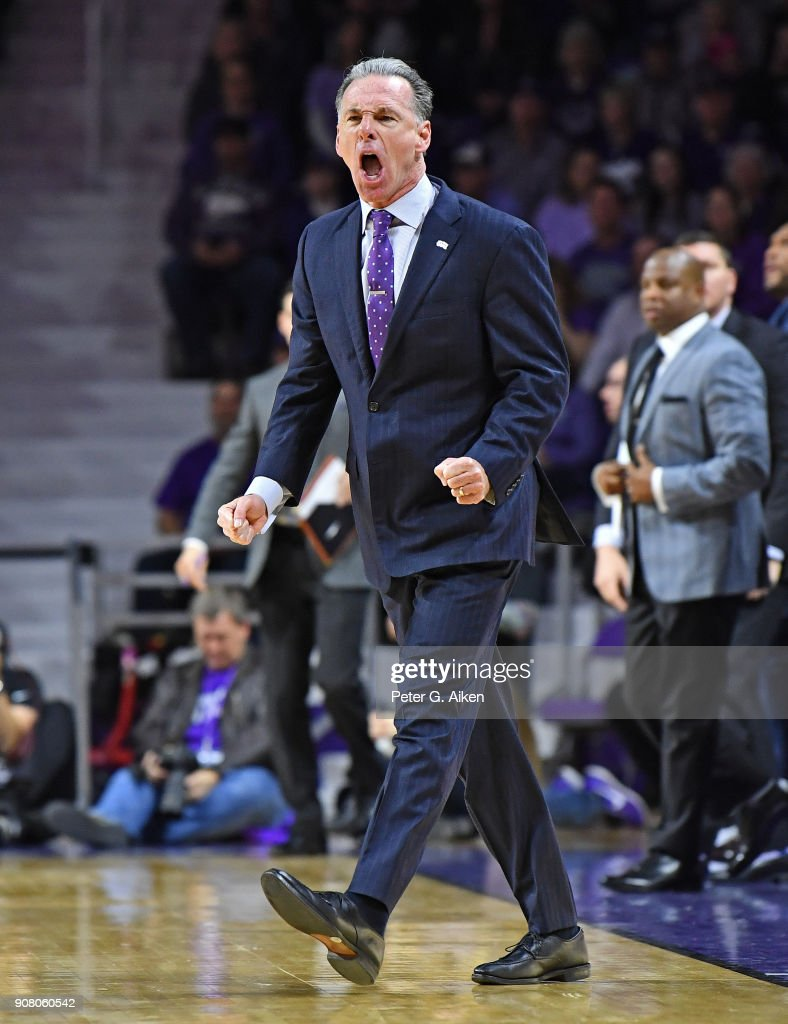 Head coach Jamie Dixon of the TCU Horned Frogs reacts after a play during the first half against the Kansas State Wildcats on January 20, 2018 at Bramlage Coliseum in Manhattan, Kansas.