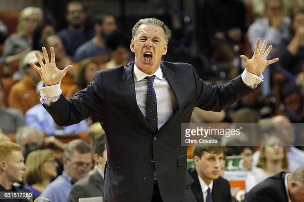 Head coach Jamie Dixon of the TCU Horned Frogs reacts as his team plays the Texas Longhorns at the Frank Erwin Center on January 11, 2017 in Austin,...