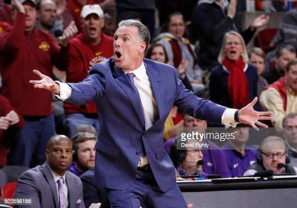 Head coach Jamie Dixon of the TCU Horned Frogs reacts to a call by the referee in the second half of play against the Iowa State Cyclones at Hilton...