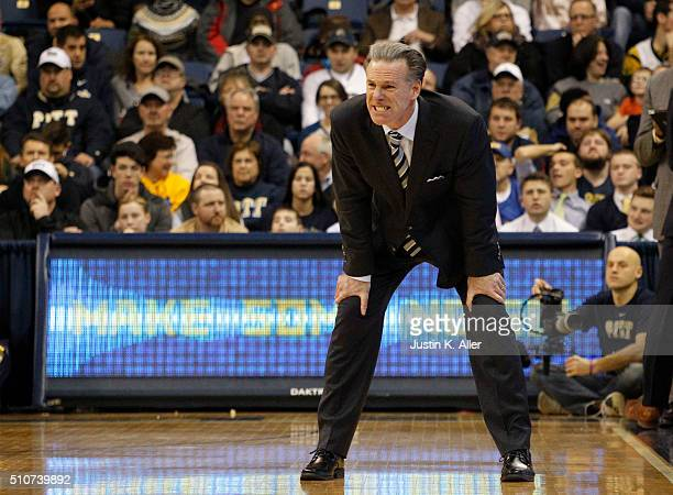 Head coach Jamie Dixon reacts during the game against the Wake Forest Demon Deacons at Petersen Events Center on February 16 2016 in Pittsburgh...