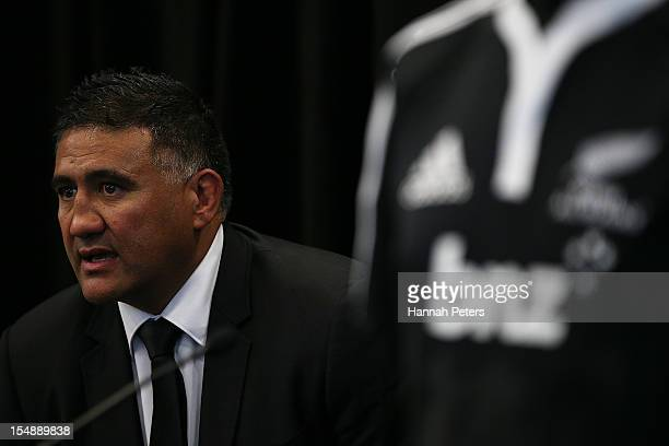 Head coach Jamie Joseph answers questions during the New Zealand Maori All Blacks Squad Announcement at the BNZ Partners Centre on October 29 2012 in...