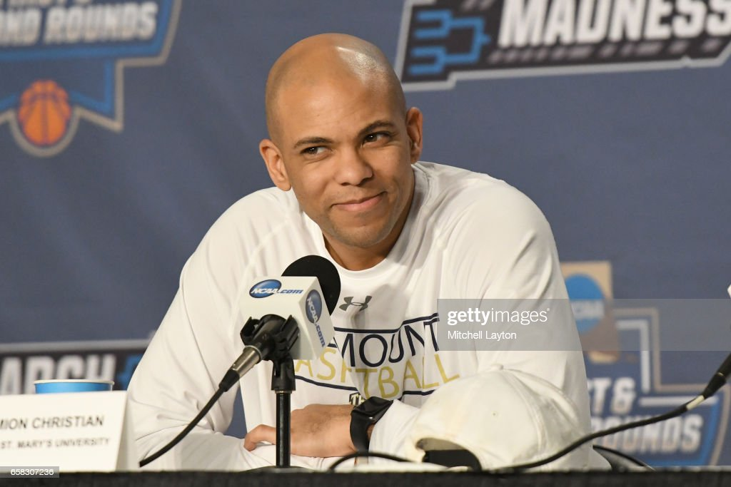 Head coach Jamion Christian of the Mount St. Mary's Mountaineers addresses the media on practice day of the First Round of the NCAA Basketball Tournament at The KeyBank Center on March 15, 2017 in Buffalo, New York.