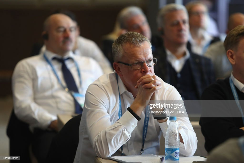 Head Coach Janne Andersson of Sweden in the Technical Workshop during Day 2 of the 2018 FIFA World Cup Russia Team Workshop on February 28, 2018 in Sochi, Russia.