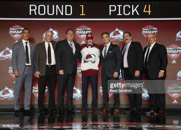 Head coach Jared Bednar draft team member draft team member fourth overall pick Cale Makar general manager Joe Sakic director of reserve list...