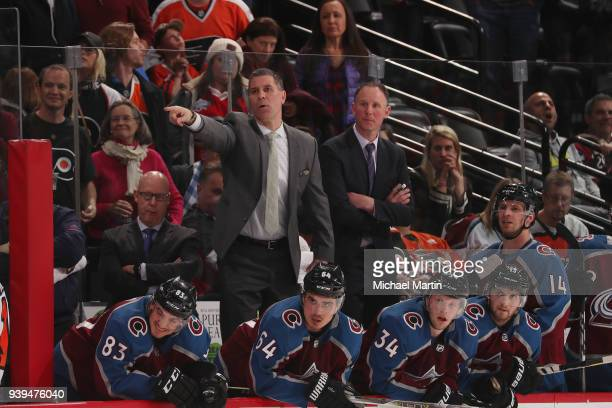 Head coach Jared Bednar of the Colorado Avalanche directs his team during the third period of the game against the Philadelphia Flyers at the Pepsi...