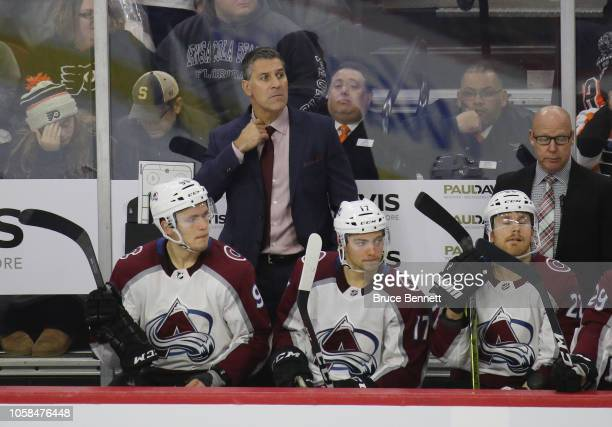 Head coach Jared Bednar of the Colorado Avalanche handles bench duties against the Philadelphia Flyers at the Wells Fargo Center on October 22 2018...