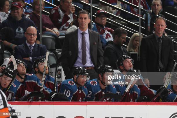 Head coach Jared Bednar of the Colorado Avalanche looks on against the Tampa Bay Lightning at the Pepsi Center on October 24 2018 in Denver Colorado