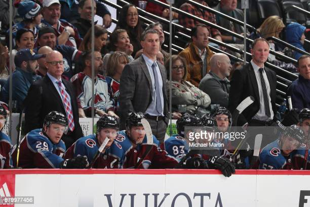 Head coach Jared Bednar of the Colorado Avalanche looks on against the Dallas Stars at the Pepsi Center on November 22 2017 in Denver Colorado The...