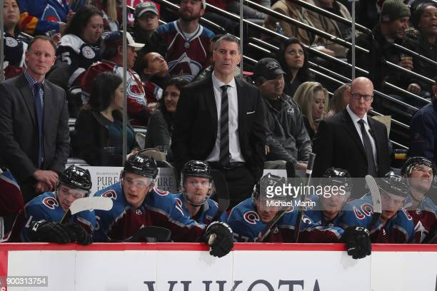 Head coach Jared Bednar of the Colorado Avalanche looks on against the Toronto Maple Leafs at the Pepsi Center on December 29 2017 in Denver Colorado...