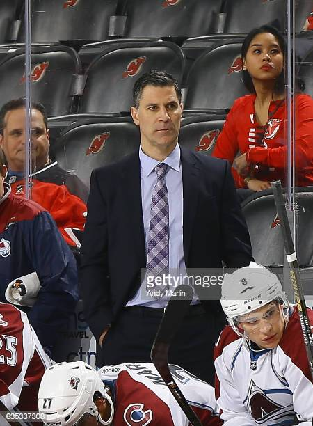 Head Coach Jared Bednar of the Colorado Avalanche looks on during the game against the New Jersey Devils at Prudential Center on February 14 2017 in...