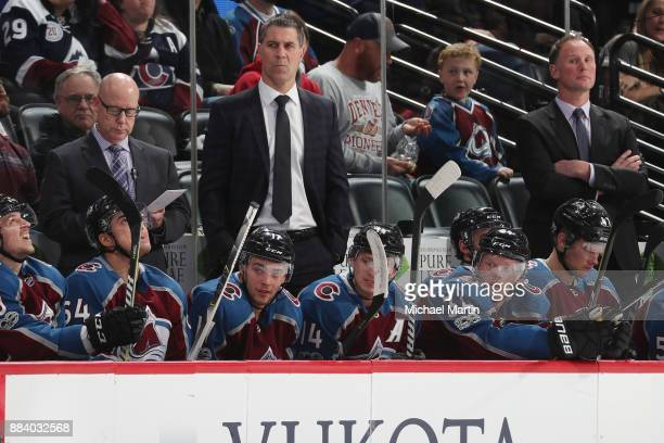 Head coach Jared Bednar of the Colorado Avalanche looks on during the game against the New Jersey Devils at the Pepsi Center on December 1 2017 in...