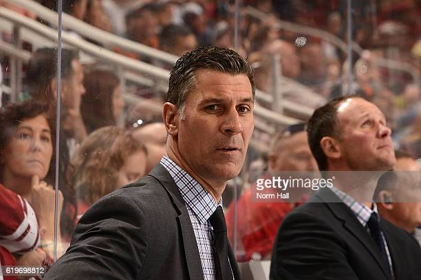 Head coach Jared Bednar of the Colorado Avalanche looks on from the bench against the Arizona Coyotes at Gila River Arena on October 29 2016 in...