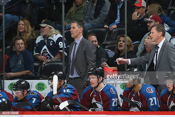 Head Coach Jared Bednar of the Colorado Avalanche looks on from the bench during the third period against the Winnipeg Jets at Pepsi Center on...