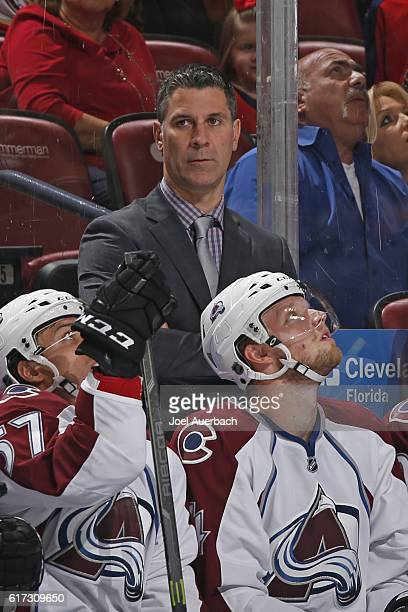 Head coach Jared Bednar of the Colorado Avalanche looks up ice during first period action against the Florida Panthers at the BBT Center on October...