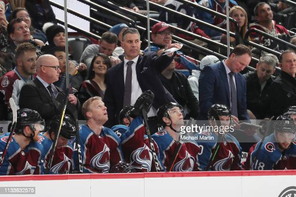 Head coach Jared Bednar of the Colorado Avalanche points to action on the ice during the game against the Arizona Coyotes at the Pepsi Center on...