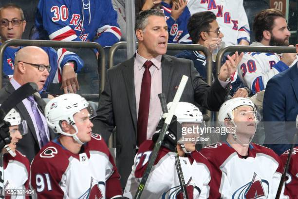 Head coach Jared Bednar of the Colorado Avalanche shouts instructions from the bench during the game against the New York Rangers at Madison Square...