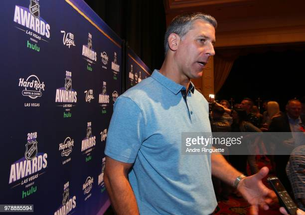 Head Coach Jared Bednar of the Colorado Avalanche speaks during media availability at the Hard Rock Hotel Casino on June 19 2018 in Las Vegas Nevada