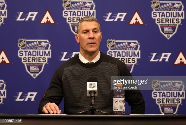 Head coach Jared Bednar of the Colorado Avalanche speaks to the media after the 2020 NHL Stadium Series game between the Los Angeles Kings and the...