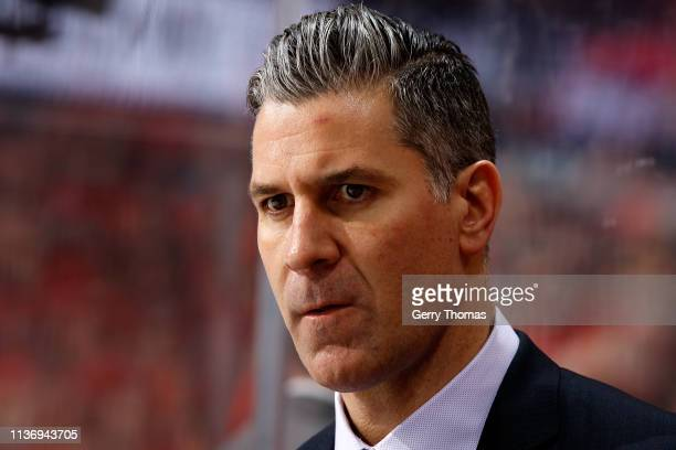 Head coach Jared Bednar of the Colorado Avalanche stands on the bench in Game Two of the Western Conference First Round during the 2019 NHL Stanley...