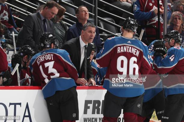 Head coach Jared Bednar of the Colorado Avalanche talks to his players during a timeout against the Calgary Flames at the Pepsi Center on November 25...