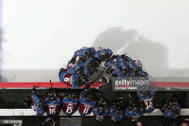 Head coach Jared Bednar of the Colorado Avalanche talks to his team during a break in the action against the Boston Bruins at the Pepsi Center on...